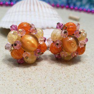Vintage Western Germany Clip On Earrings Orange